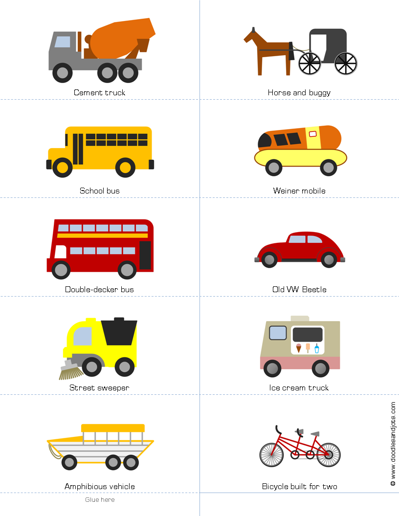 Printable Book Of Vehicles For Kids Doodles And Jots