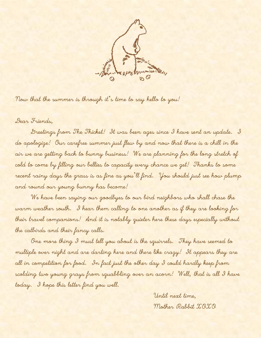 A Handwritten Letter from Mother Rabbit