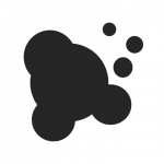 Simple black and white graphic representing an ink spill or mistake