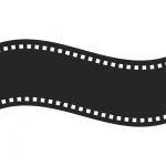 Simple black and white graphic representing a film strip