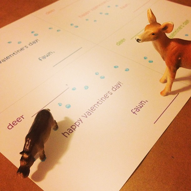 printable valentines deer tracks